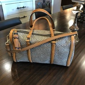 Fossil Kendall Woven Leather Satchel Crossbody Bag
